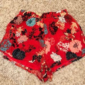 Pants - Flower print flowy shorts